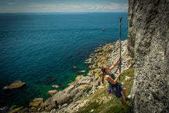 Pongoose blog - image of climber using clipstick at Blacknor Portland