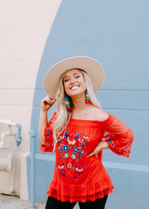 let's fiesta embroidered top