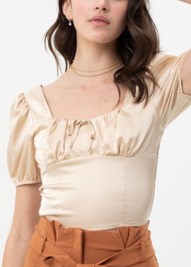 silky crop top (champagne)