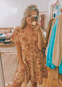 button floral dress (clay)