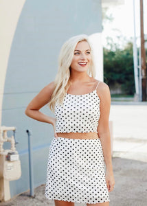 dotted crop top (white)