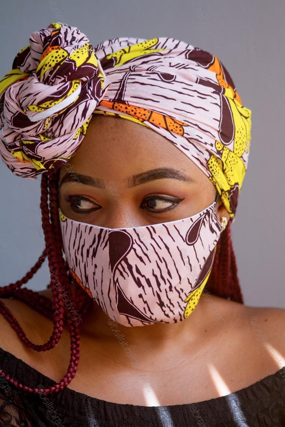 Bella Face Mask - Ankara Yellow/Pink Set - Bella Braided Wigs