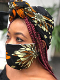 Bella Face Mask - Ankara Black/Brown Face Mask & Head Wrap Set - Bella Braided Wigs