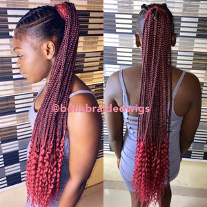 Bella Braided Ponytails - Burgundy - Bella Braided Wigs