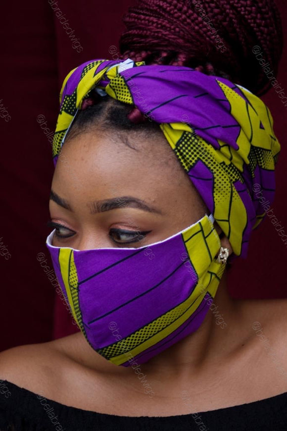 Bella Face Mask - Ankara Purple/Green Set - Bella Braided Wigs