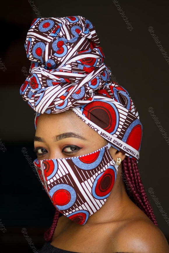 Bella Face Mask - Ankara Red/Blue Set - Bella Braided Wigs