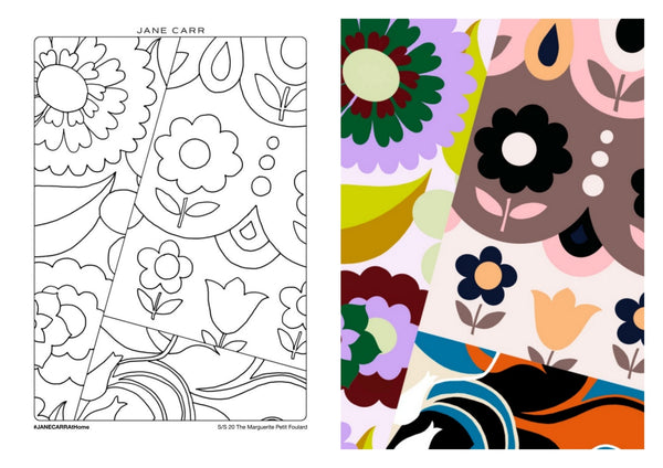 JANE CARR The Marguerite Petit Foulard - Colouring Page