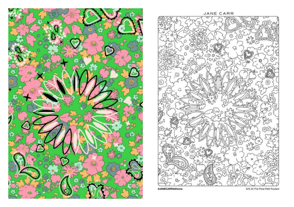 JANE CARR The Pixie Petit Foulard - Colouring Page