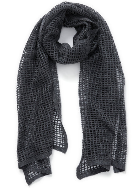 JANE CARR The Mesh Scarf in Granite, dark grey grid woven cashmere scarf – tied