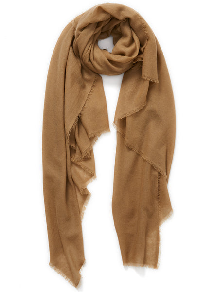 JANE CARR The Fray Wrap in Camel, woven pure cashmere scarf – tied