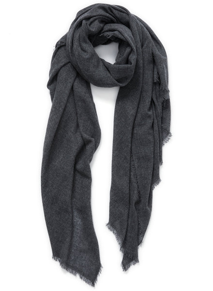 JANE CARR The Fray Wrap in Granite, dark grey woven pure cashmere scarf – tied
