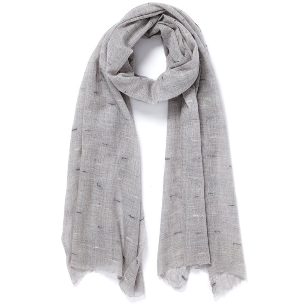 THE LOOM WRAP - Grey textured cashmere wrap