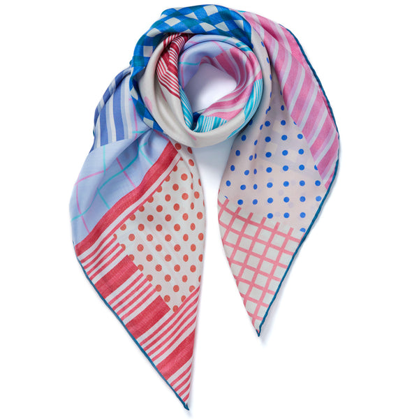 JANE CARR Pyjama Foulard in Tricolore, silk twill printed scarf - tied