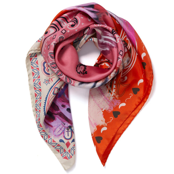 JANE CARR Messy Bandana Foulard in Camellia, silk twill printed scarf - tied