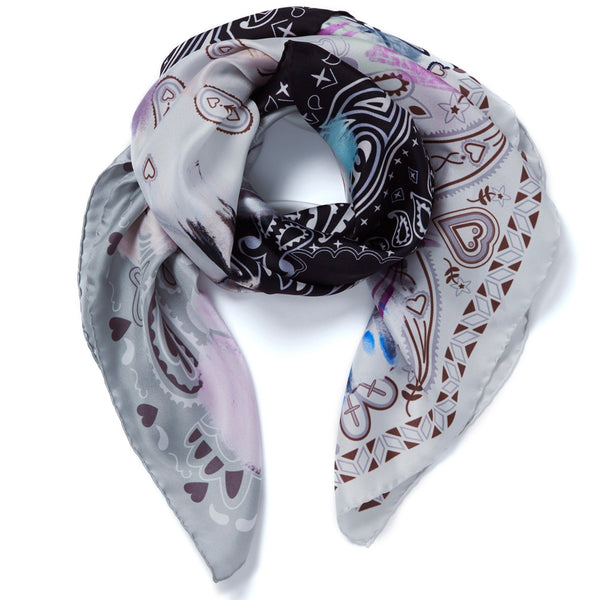 JANE CARR Messy Bandana Foulard in Granite, silk twill printed scarf - tied
