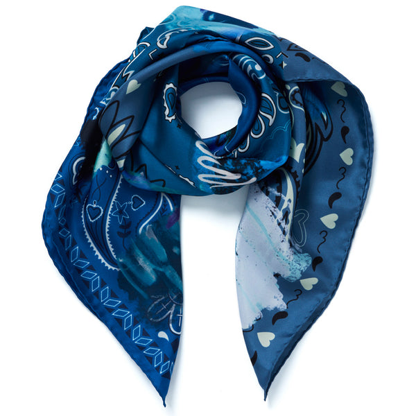 JANE CARR Messy Bandana Foulard in Indigo, silk twill printed scarf - tied
