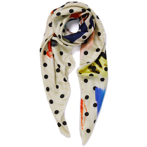 JANE CARR Beckett Square in Vanilla, silk twill printed scarf - tied