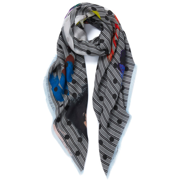 JANE CARR Beckett Square in Granite, modal cashmere-blend printed scarf - tied