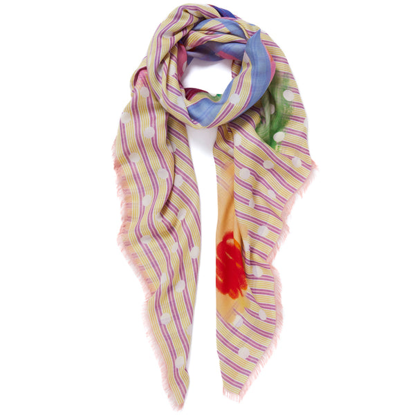 JANE CARR Beckett Square in Lemon, modal cashmere-blend printed scarf - tied