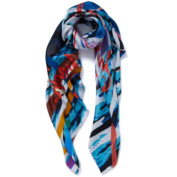JANE CARR Hazard Square in Aqua, silk twill printed scarf - tied