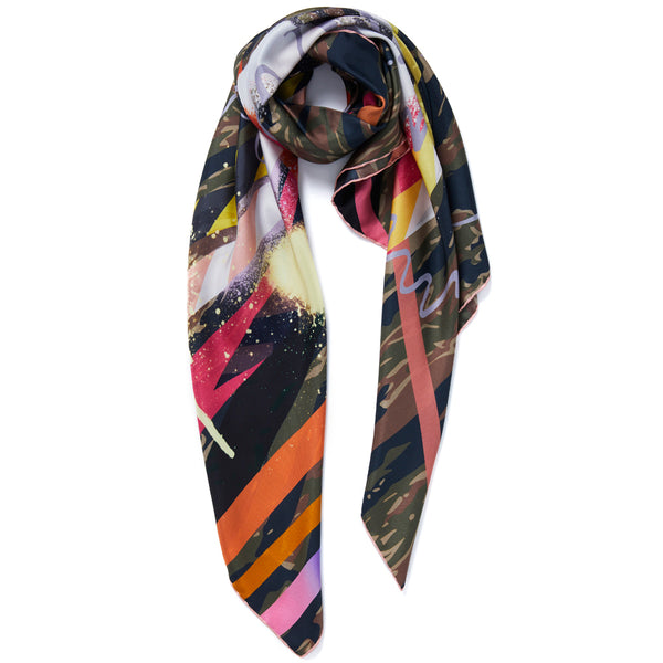 JANE CARR Hazard Square in Khaki, silk twill printed scarf - tied