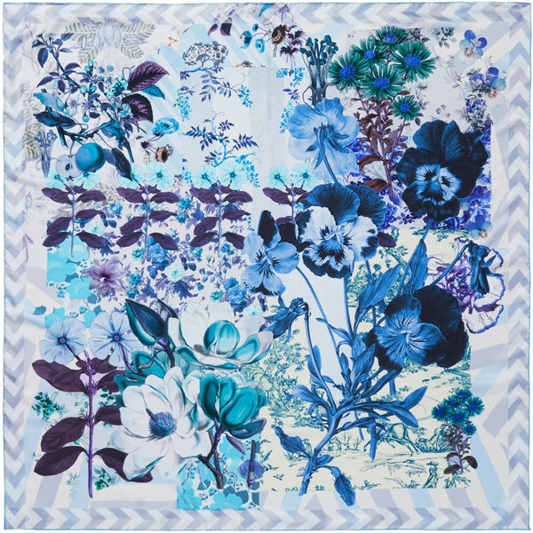 JANE CARR Pippin Square in Cornflower, silk twill printed scarf - flat