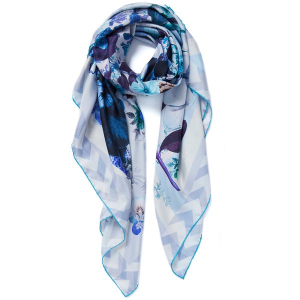 JANE CARR Pippin Square in Cornflower, silk twill printed scarf - tied
