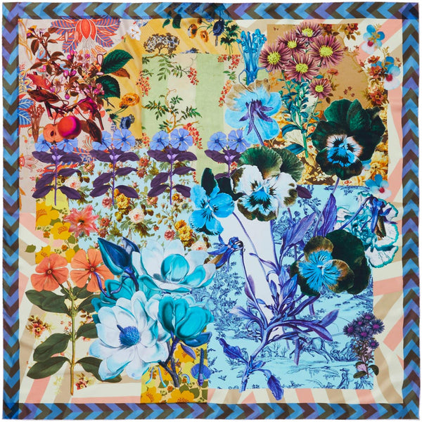 JANE CARR Pippin Square in Flower, silk twill printed scarf - flat