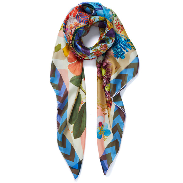 JANE CARR Pippin Square in Flower, silk twill printed scarf - tied