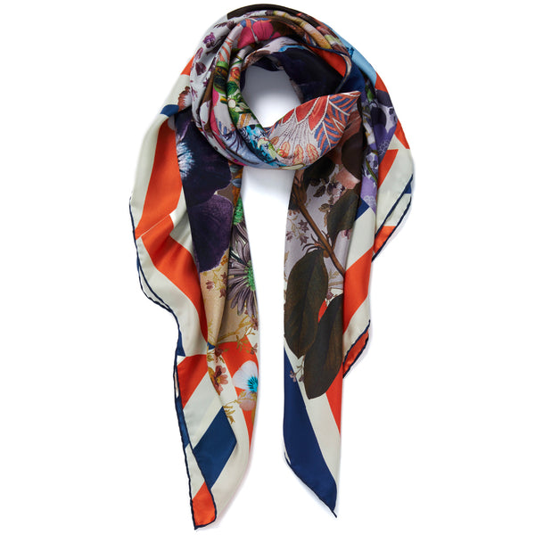 JANE CARR Pippin Square in Tricolore, silk twill printed scarf - tied