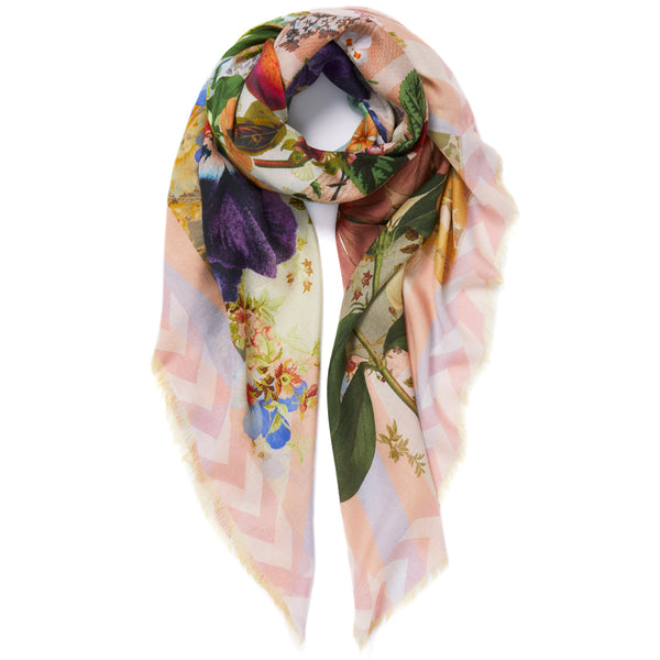 JANE CARR Pippin Square in Pastel, modal cashmere-blend printed scarf - tied