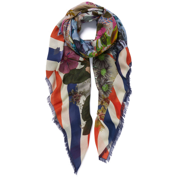 JANE CARR Pippin Square in Tricolore, modal cashmere-blend printed scarf - tied