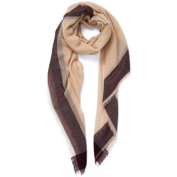 JANE CARR Frame Square in Adder, cashmere scarf with contrast border - tied