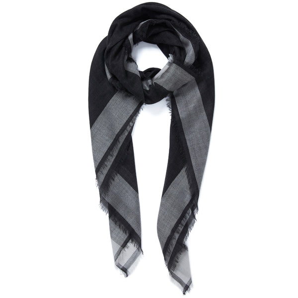 JANE CARR Frame Square in Granite, cashmere scarf with contrast border - tied
