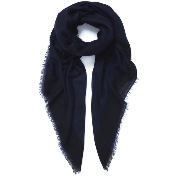 JANE CARR Frame Square in Navy, cashmere scarf with contrast border - tied