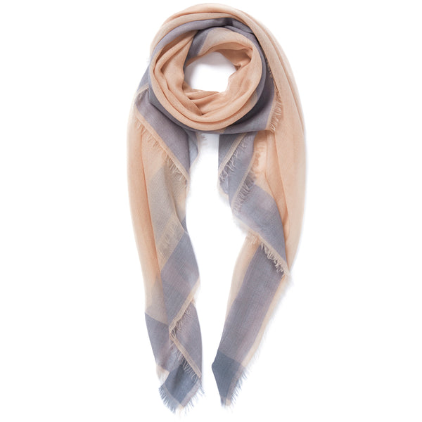 JANE CARR Frame Square in Pastel, cashmere scarf with contrast border - tied