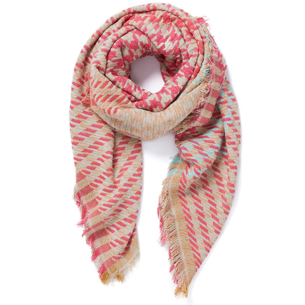 JANE CARR Houndstooth Square in Ballerina, cotton scarf with Lurex - tied