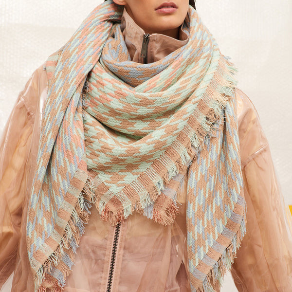JANE CARR Houndstooth Square in Pastel, cotton scarf with Lurex - model