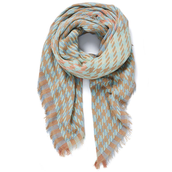 JANE CARR Houndstooth Square in Pastel, cotton scarf with Lurex - tied