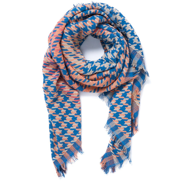 JANE CARR Houndstooth Square in Sweetpea, cotton scarf with Lurex - tied