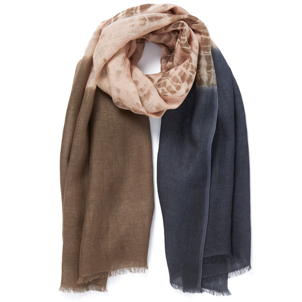 JANE CARR The Plage Wrap in Adder, linen tie-dye scarf - tied