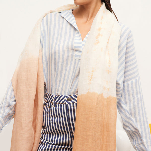 JANE CARR The Plage Wrap in Biscuit, linen tie-dye scarf - model