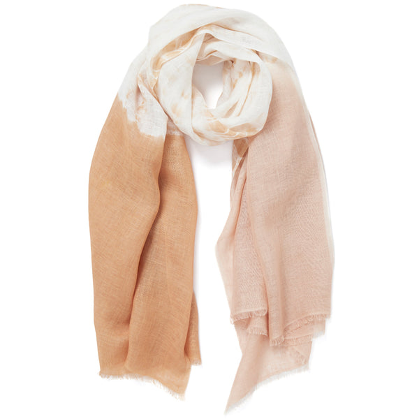 JANE CARR The Plage Wrap in Biscuit, linen tie-dye scarf - tied