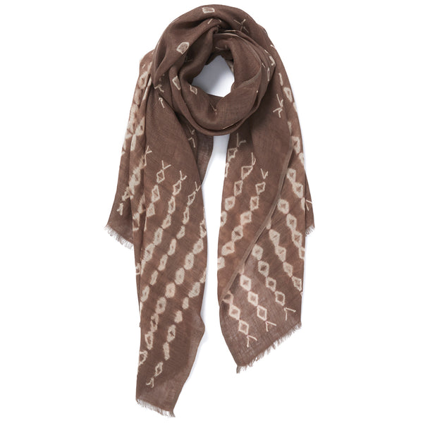 JANE CARR The Mojave Wrap in Adder, linen tie-dye scarf - tied
