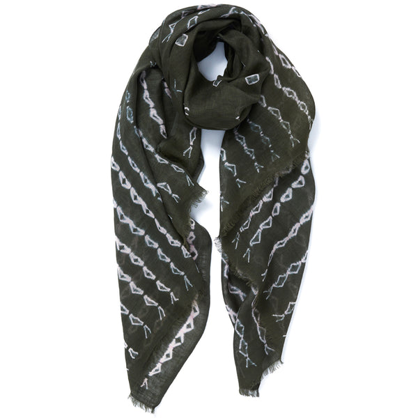 JANE CARR The Mojave Wrap in Khaki, linen tie-dye scarf - tied