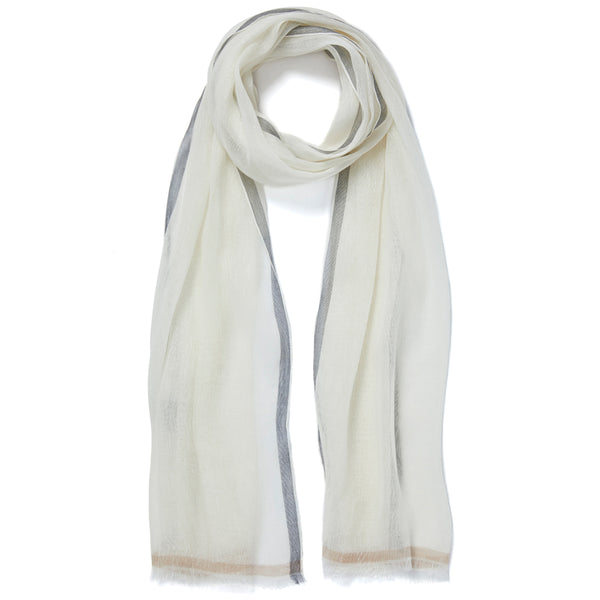 JANE CARR The Studio Wrap in White, cashmere linen scarf - tied