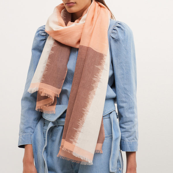 JANE CARR The Batik Wrap in Ballerina, striped cotton scarf - model