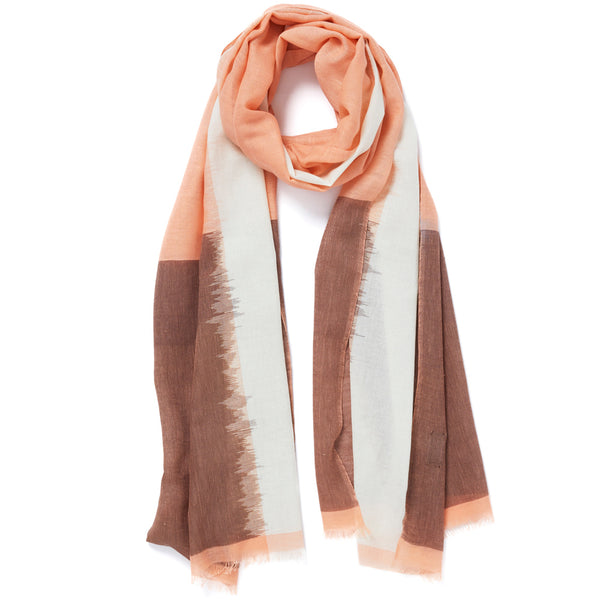 JANE CARR The Batik Wrap in Ballerina, striped cotton scarf - tied