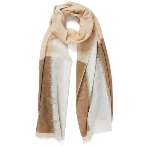 JANE CARR The Batik Wrap in Biscuit, striped cotton scarf - tied