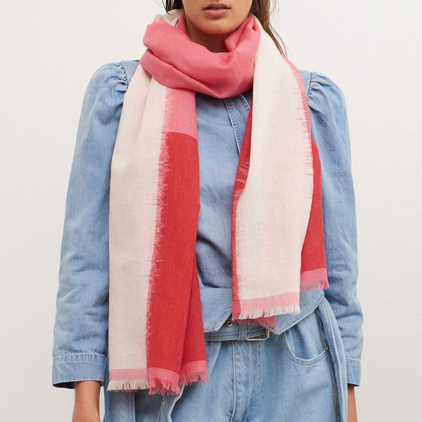 JANE CARR The Batik Wrap in Camellia, striped cotton scarf - model